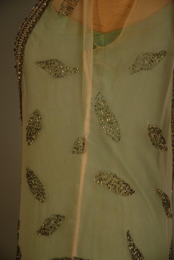 303: JEWELED FLAPPER DRESS with BEADED FRINGE, 1920's.  - 2