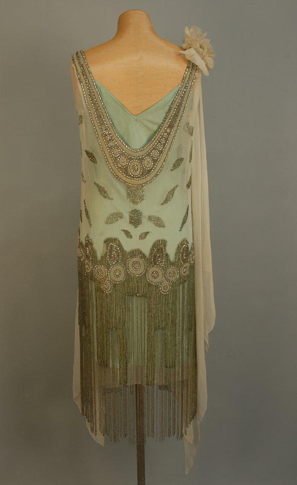 303: JEWELED FLAPPER DRESS with BEADED FRINGE, 1920's.  - 4