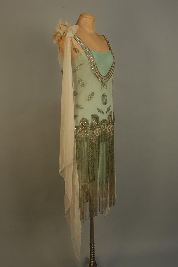 303: JEWELED FLAPPER DRESS with BEADED FRINGE, 1920's.  - 6
