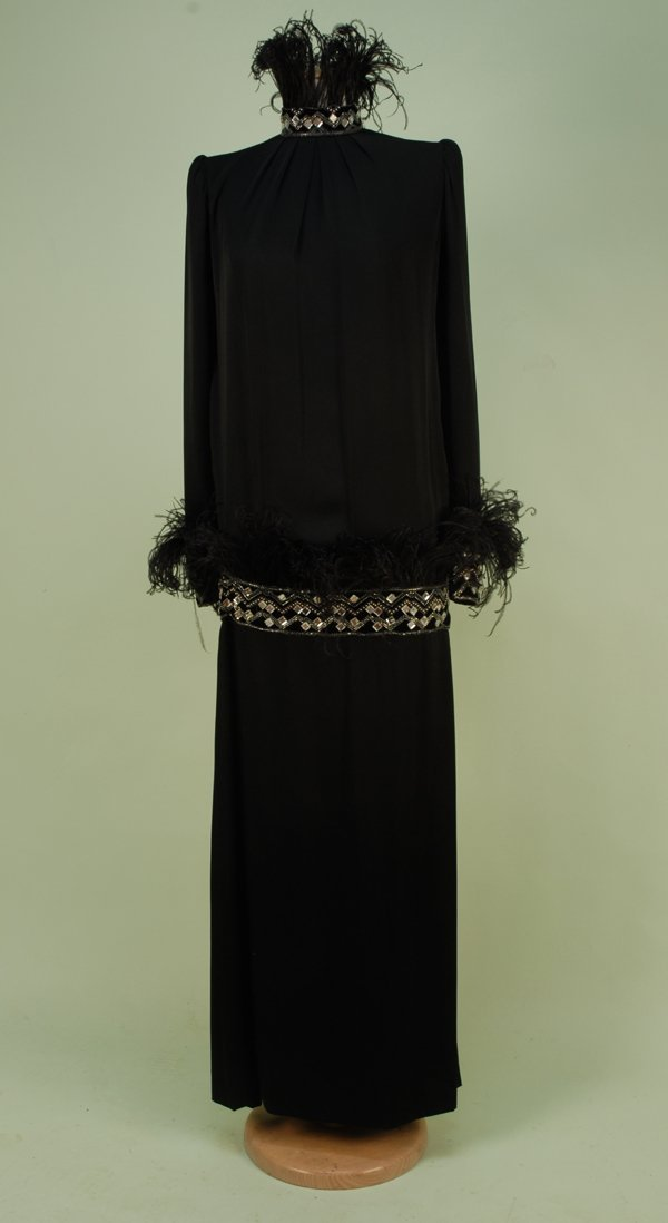 556: GIVENCHY JEWELED and FEATHERED EVENING GOWN, 1980'