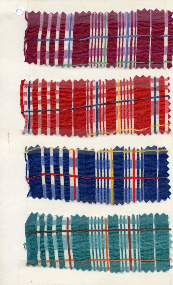 7: LOT of CARDED FABRIC SAMPLES, 1900-1970. Plaid, ombr