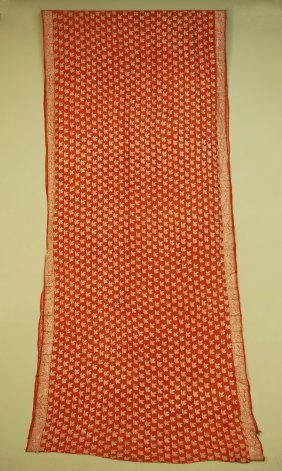 69: EMBROIDERED SILK SARI, 1920's. Brick brocade with a