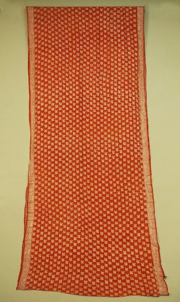 69: EMBROIDERED SILK SARI, 1920's. Brick brocade with a