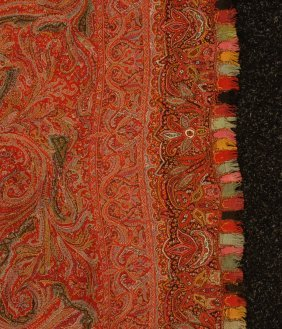 73: HAND EMBROIDERED WOOL PAISLEY SHAWL, MID 19th C. Be