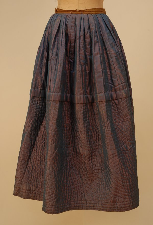 303: QUILTED SHOT SILK PETTICOAT, 1870's-1880's. Hand q