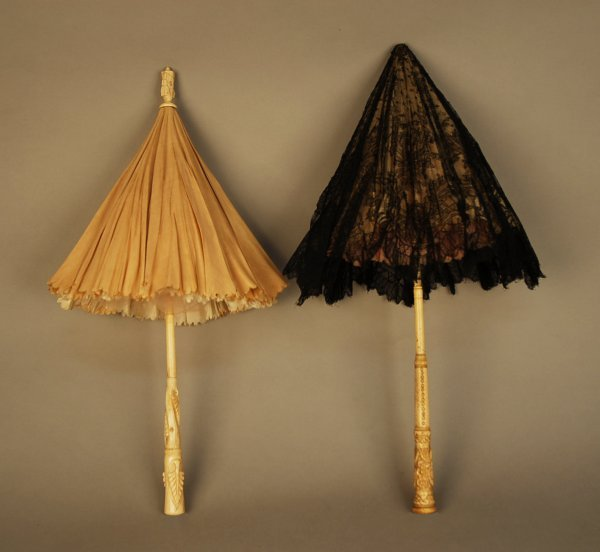 327: TWO VICTORIAN PARASOLS with CARVED HANDLES. Bone w