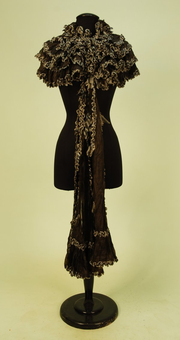 328: BLACK SILK RUFFLED CAPELET with RIBBON TRIM, c. 18
