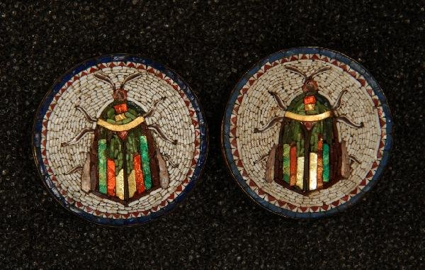 PAIR ITALIAN MICRO MOSAIC BEETLE BUTTONS. Medium with c