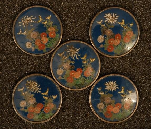 FIVE EXTREMELY FINE JAPANESE CLOISONNE SILVER BUTTONS.
