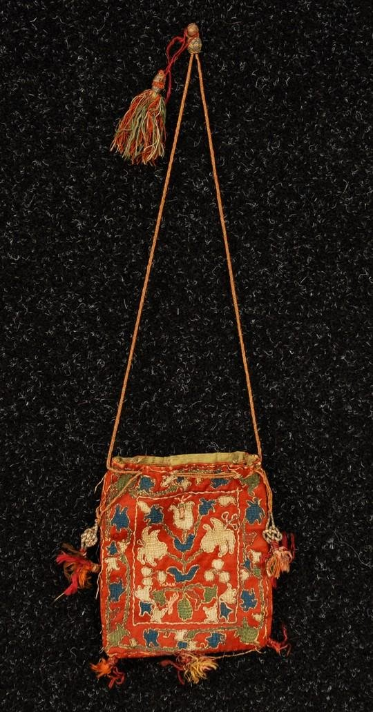 565: EMBROIDERED SILK SATIN PURSE with TASSELS, 17th C.
