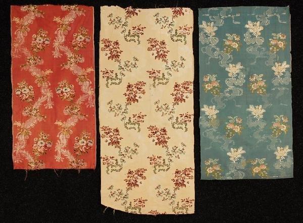 567: THREE PANELS FRENCH FLORAL BROCADE SILK, c. 1760.