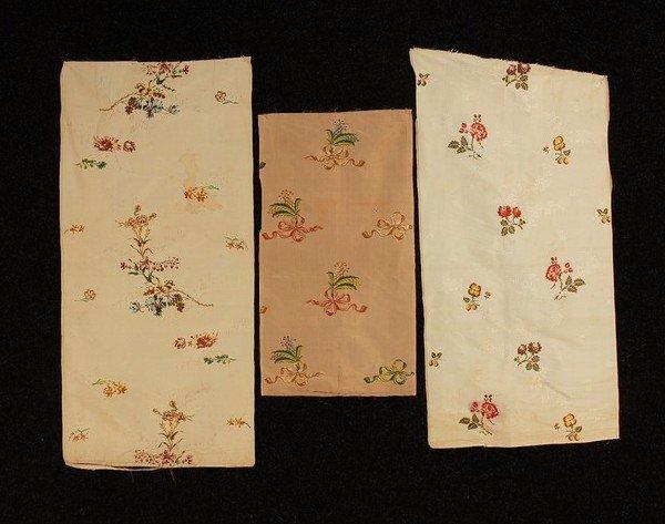 568: THREE PANELS SPITALFIELDS ENGLISH SILK, c. 1750-17