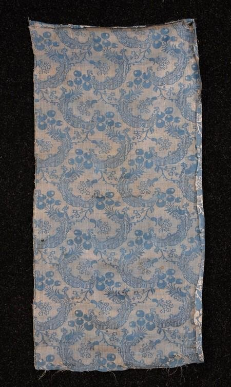 569: FRENCH BLUE LAMPAS SILK PANEL, c. 1750. Taffeta go