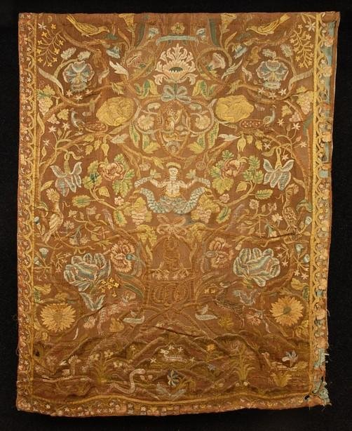 576: IBERIAN SILK EMBROIDERED PANEL with MERMAID, EARLY