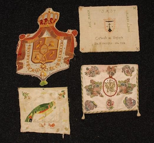 582: THREE MEXICAN EMBROIDERED TEXTILES, 19th C. All fr