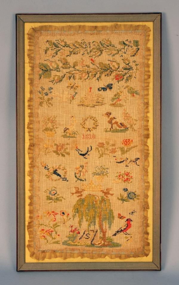 583: AMERICAN CROSS STITCH NEEDLE WORK SAMPLER, 1810. L