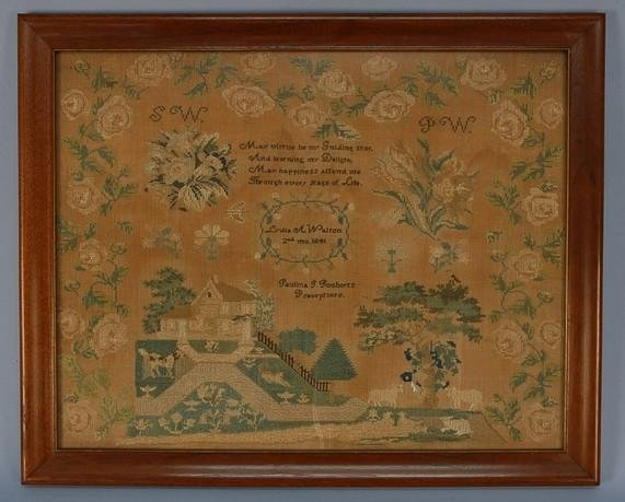 584: QUAKER LINEN NEEDLEWORK, 1844. Executed in silk on