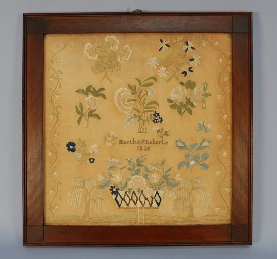 585: QUAKER LINEN NEEDLEWORK, 1834. Executed in silk on