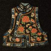 711 CHINESE EMBROIDERED SILK VEST c 1900