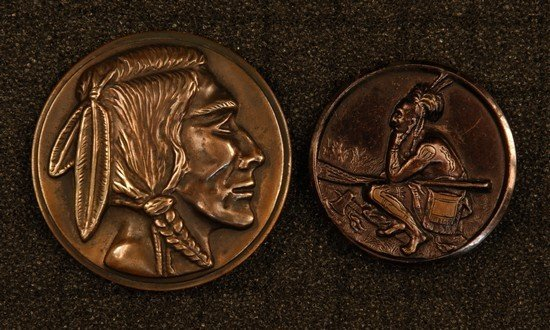 "2: TWO LARGE INDIAN THEME BRASS BUTTONS. ""Indian Hunter"