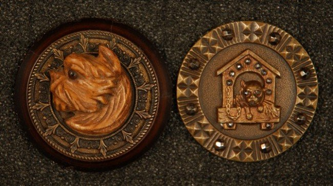 5: TWO LARGE BUTTONS with DOGS. Wood high relief terrie