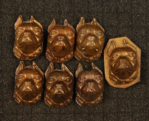 11: SET of SEVEN HIGH RELIEF DOG HEAD BUTTONS. Large st