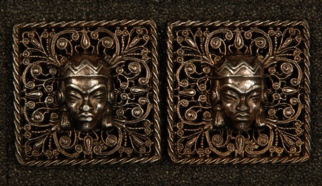 12: PAIR of HIGH RELIEF AFRICAN MASK BUTTONS. Large, sq