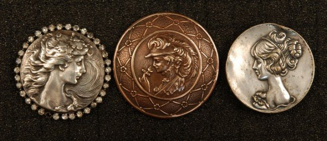 16: THREE BUTTONS with WOMAN'S HEAD. All large profiles