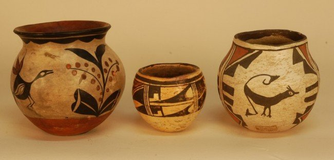 363: THREE NATIVE AMERICAN PUEBLO POTTERY VESSELS, 20th