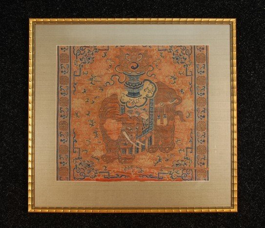375: FRAMED CHINESE SILK BROCADE FRAGMENT, 18th C. Red,