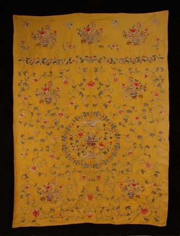 378: CHINESE SILK EMBROIDERED PANEL, 19th C. Two joined