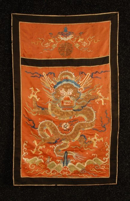 379: CHINESE SILK EMBROIDERED PANEL, 19th C. In two sec