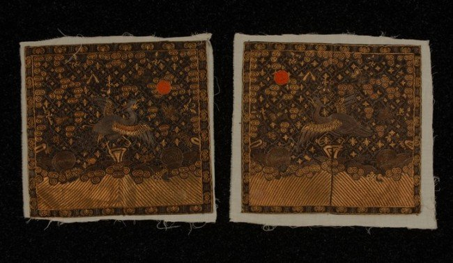 380: TWO CHINESE SILK EMBROIDERED RANK BADGES, 19th C.