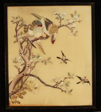 381: FRAMED CHINESE PICTORIAL SILK EMBROIDERY, 19th C.