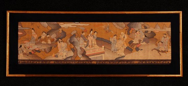 386: FRAMED JAPANESE KESU TAPESTRY PANEL, 19th C. Long