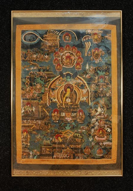 388: THANGKA, 18th-19th C. Tempera on canvas trimmed wi