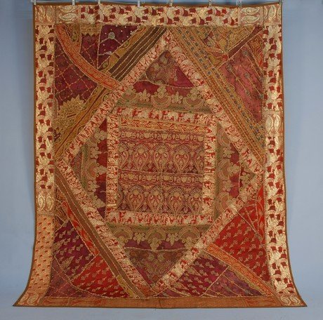 391: INDIAN GOLD EMBROIDERED BEDCOVER, 19th-20th C. Pie