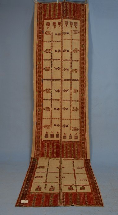 394: GREEK ISLANDS EMBROIDERY, 19th C. Long natural lin