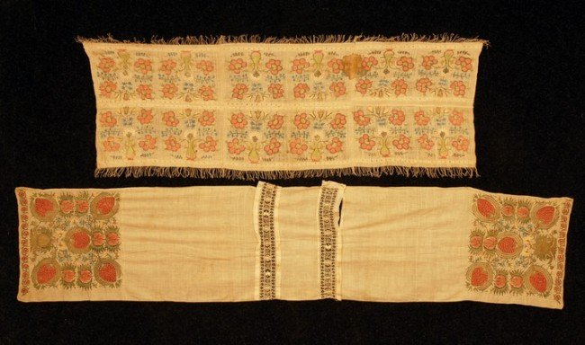 395: TWO TURKISH EMBROIDERIES, 19th C. One comprosed of