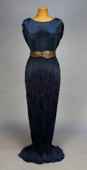 629: FORTUNY DELPHOS GOWN with SASH and ORIGINAL BOX, c