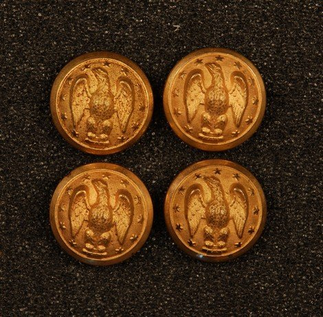 2: FOUR CONFEDERATE GENERAL STAFF OFFICER BUTTONS. All