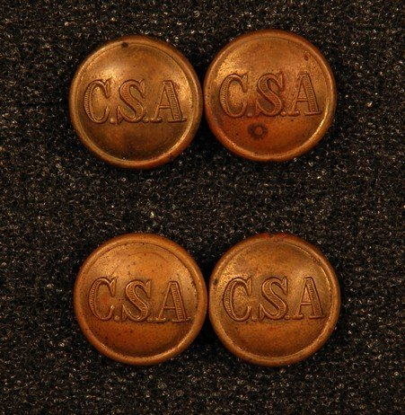 11: FOUR CONFEDERATE ARMY GENERAL SERVICE CUFF BUTTONS.