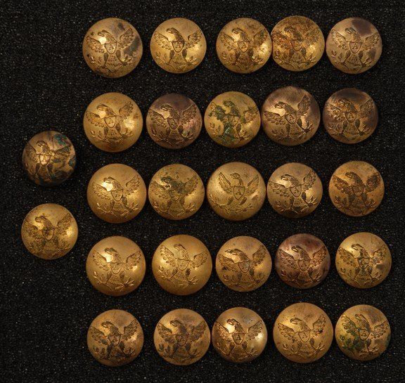 16: LOT of U.S. ARTILLERY BUTTONS, 1821-Mid 19th C. Cup