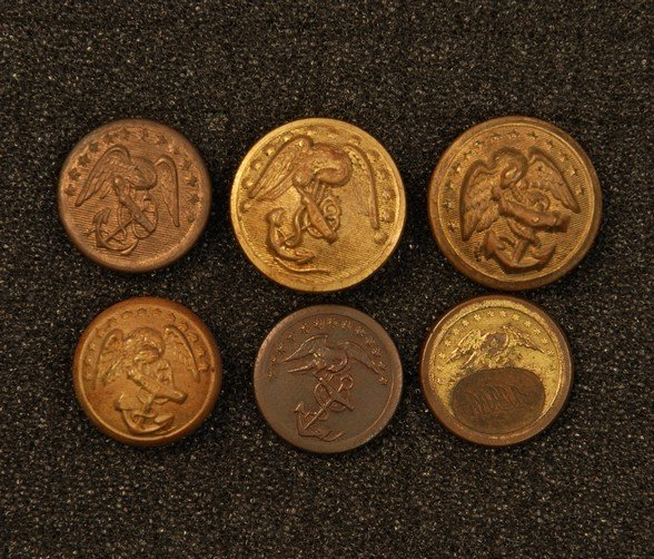 20: FIVE MARINE CORPS BUTTONS, 1821-1891. One unusual 1