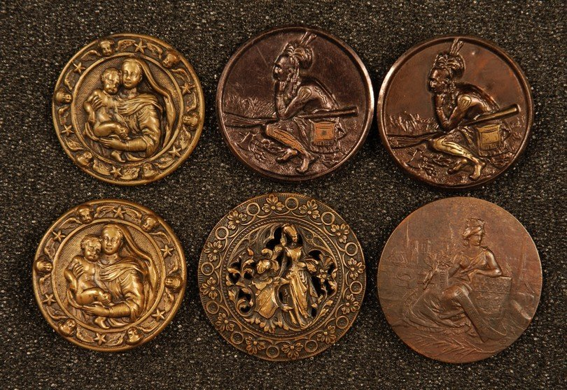 24: SIX LARGE FIGURAL STAMPED BRASS BUTTONS. Two 2-piec