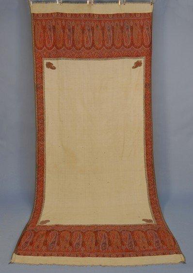 138: HANDMADE KASHMIRI WOOL PAISLEY SHAWL, 19th C. Crea