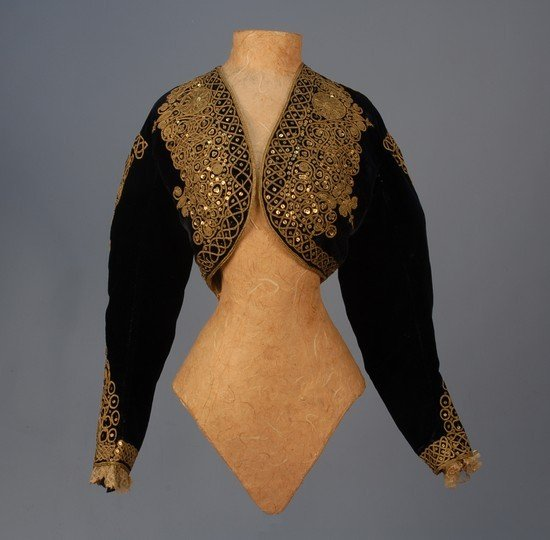 297: SILK VELVET JACKET with GOLD CORD and SEQUINS, c.