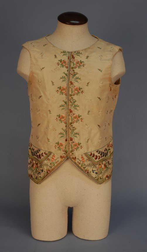 298: GENT'S SILK EMBROIDERED WAISTCOAT, LATE 18th C. Cr