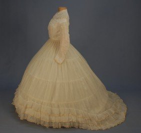 302: TRAINED GAUZE WEDDING GOWN with SHIRRED BODICE, 18