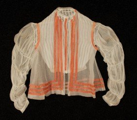 303: LADY'S WHITE GAUZE BLOUSE and VEST, 1860's. The bl